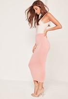 Missguided Longline Jersey Midi Skirt Pink