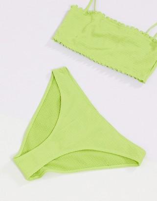 Monki Nanna shirred bikini bottoms in green