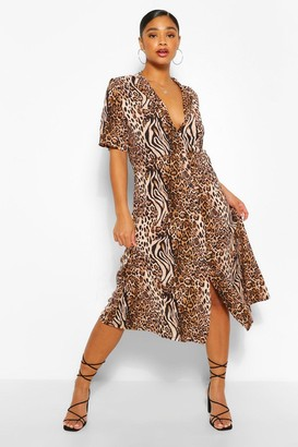 boohoo Plus Tiger and Leopard Mix Shirt Midi Dress