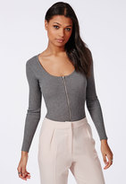 Missguided Ribbed Knit Zip Bodysuit Grey