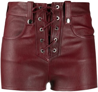 Manokhi Lace-Up Leather Shorts