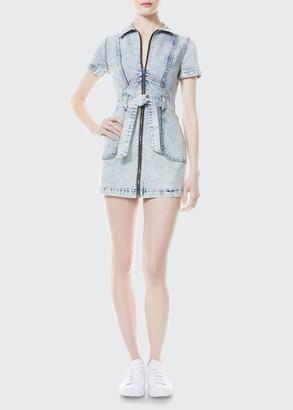 Alice + Olivia Gorgeous Zip-Up Denim Dress