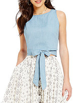 Moon River Sleeveless Tie Front Chambray Blouse