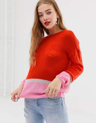 JDY color pop stripe sweater-Red