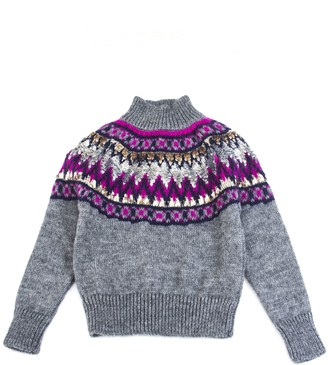 Alberta Ferretti Grey Mohair Blend Sequin Embroidered Jumper