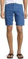 Robert Graham Hiker Linen/Cotton Cargo Shorts, Navy