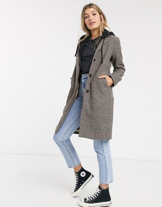 Abercrombie & Fitch wool dad coat in check