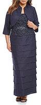 Jessica Howard Plus Lace Tiered 2-Piece Jacket Dress
