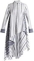 Palmer Harding PALMER//HARDING Striped waterfall-hem cotton-poplin shirt