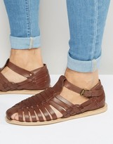 Dune Leather Sandals In Brown