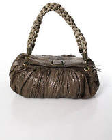 R & Y Augousti R&Y Augousti Beige Snakeskin Ruched Double Braided Small Shoulder Handbag