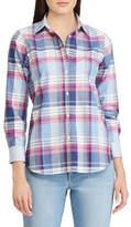 Chaps Petite No-Iron Plaid Cotton Shirt