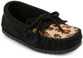 Minnetonka Toddler Girls) Black Leopard Print Calf Hair Moccasins