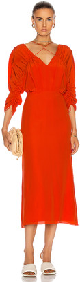 Victoria Beckham Ruched Midi Dress in Orange | FWRD