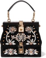 Dolce & Gabbana Snake-trimmed Embellished Velvet Tote - Black