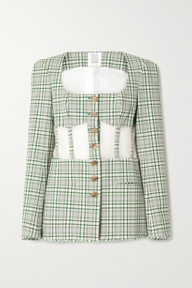 Rosie Assoulin Organza-paneled Checked Cotton-blend Canvas Blazer - Green
