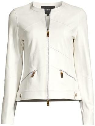Lafayette 148 New York Adeline Pannel Leather Zip Jacket