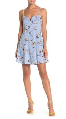 MelloDay Floral V-Notch Skater Dress