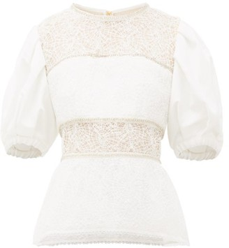 Self-Portrait Crystal And Beaded Puff-sleeve Peplum-hem Top - Ivory