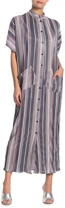 Tov Striped Plisse Pleated Maxi Shirt Dress
