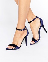 Glamorous Navy Velvet Two Part Heeled Sandals