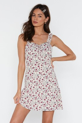 Nasty Gal Womens Frill Strap Floral A-line Mini Dress - White - 14