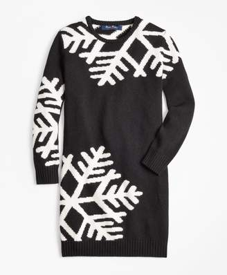Brooks Brothers Girls Long-Sleeve Oversized Snowflake Dress