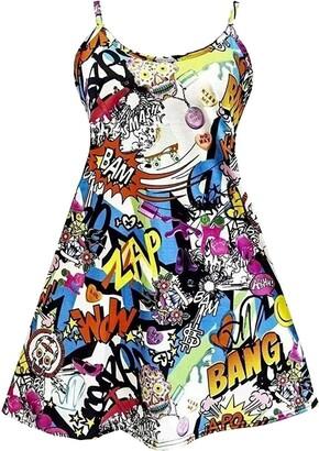 FASHION 7STAR Plus Size Womens Printed Strappy Sleeveless Ladies Mini Dress Vest Top Plain Swing Top 8-26 (Bang Print UK 20-22)