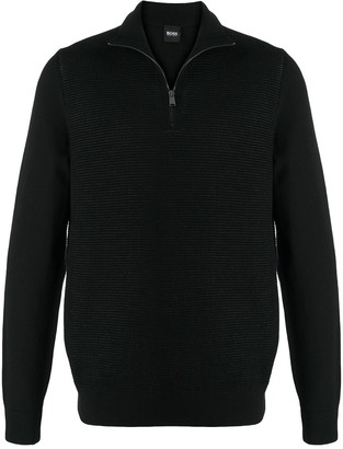 HUGO BOSS Half-Zip Virgin Wool Jumper