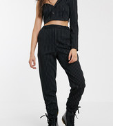 Reclaimed Vintage inspired pinstripe pants with ruched cuff hem