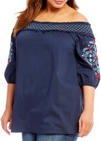 Blu Pepper Plus Embroidered Off The Shoulder Tunic