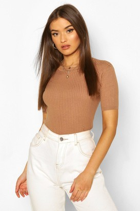 boohoo Rib Knit Crew Neck Short Sleeve Knitted Top