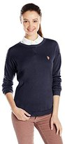 U.S. Polo Assn. Juniors' High/Low Solid Crew-Neck Pullover Sweater