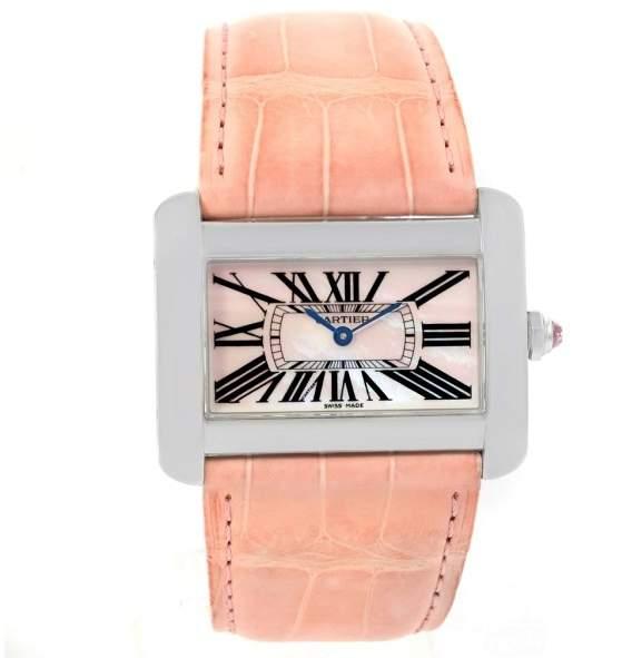 Cartier Tank Divan XL W6301455 Stainless Steel Mother Of Pearl Dial 30mm Womens Watch