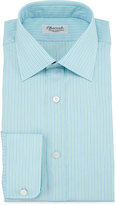 Charvet Striped Barrel-Cuff Dress Shirt, Green/Blue
