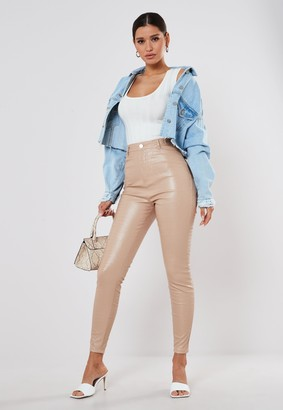 Missguided Nude Faux Leather Croc Trousers