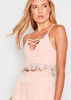 Missy Empire Sara Pink Tassel Crop Top Cami