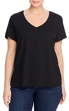 Eileen Fisher, Plus Size Organic Cotton V-Neck Tee