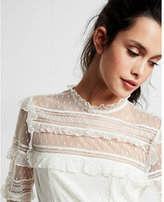 Express pieced lace long sleeve blouse