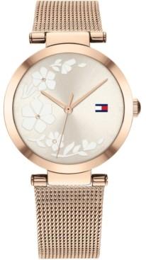 Tommy Hilfiger Women's Carnation Gold-Tone Stainless Steel Mesh Bracelet Watch 32mm