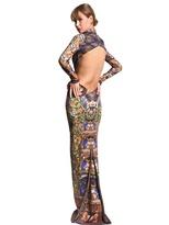 Just Cavalli Mandala Open Back Stretch Crepe Dress