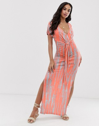 Asos DESIGN jersey beach maxi dress in washed neon tie dye with twist front detail