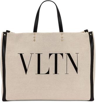 Valentino Large Logo Tote in Naturale & Nero | FWRD