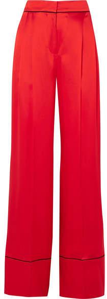 Alexander McQueen Silk-satin Wide-leg Pants - Red
