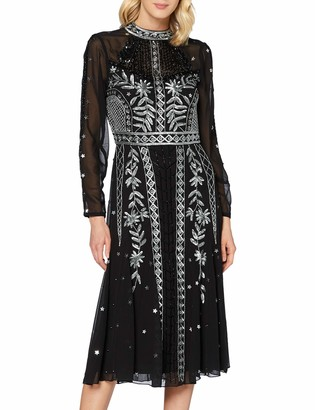 Frock and Frill Women's Igraine Embellished high Neck midi Dress Formal Night