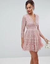 Asos Design Long Sleeve Lace Mini Prom Dress