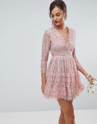 Asos Design Long Sleeve Lace Mini Prom Dress-Pink