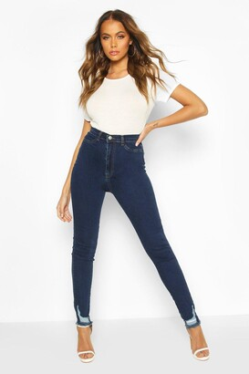 boohoo Power Stretch Frayed Hem Skinny Jean
