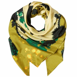 Klements Square Scarf In Gothic Floral Ochre Print
