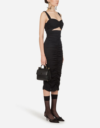 Dolce & Gabbana Longuette Dress In Charmeuse With Draping